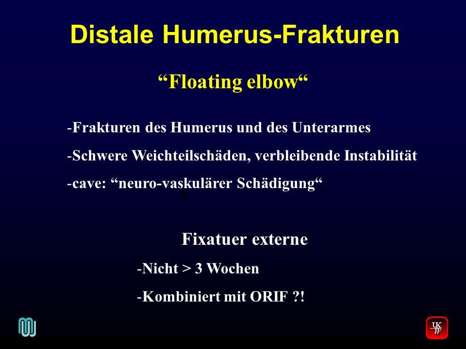 Distale Humerus-Frakturen V. Floating elbow -Frakturen des Humerus und des Unterarmes -Schwere Weichteilschäden, verbleibende Instabilität -cave: neur