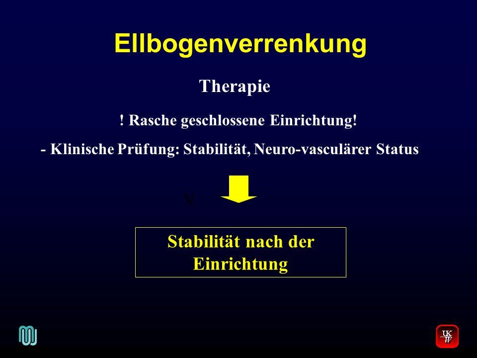 Ellbogenverrenkung V. Therapie ! Rasche geschlossene Einrichtung! - Klinische Prüfung: Stabilität, Neuro-vasculärer Status Stabilität nach der Einrich