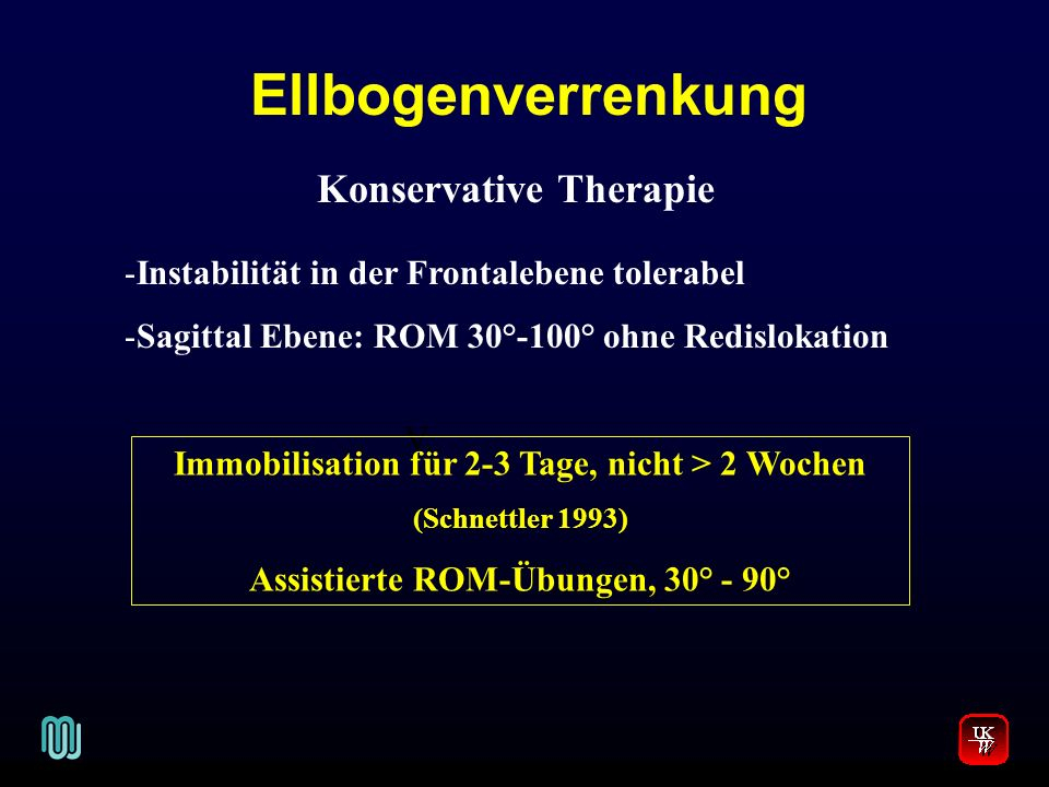 Ellbogenverrenkung V. Konservative Therapie -Instabilität in der Frontalebene tolerabel -Sagittal Ebene: ROM 30°-100° ohne Redislokation Immobilisatio