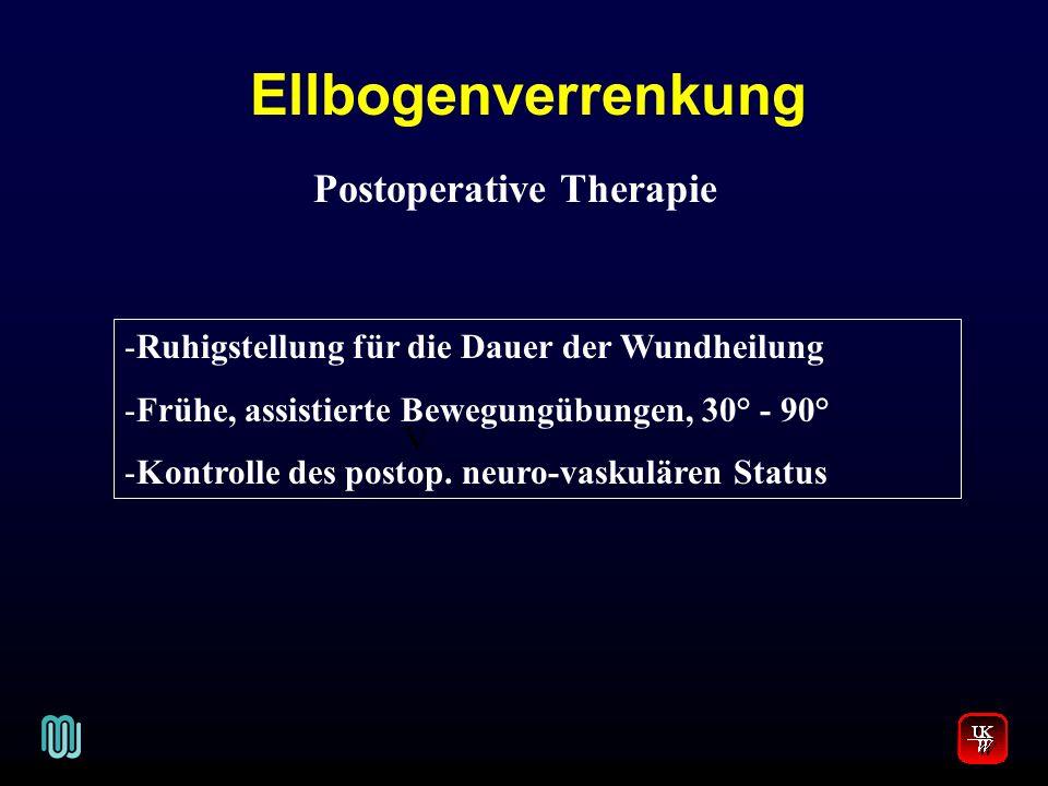 Ellbogenverrenkung V. Postoperative Therapie -Ruhigstellung für die Dauer der Wundheilung -Frühe, assistierte Bewegungübungen, 30° - 90° -Kontrolle de