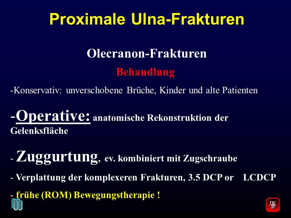 V. Olecranon-Frakturen Behandlung -Konservativ: unverschobene Brüche, Kinder und alte Patienten -Operative: anatomische Rekonstruktion der Gelenksfläc