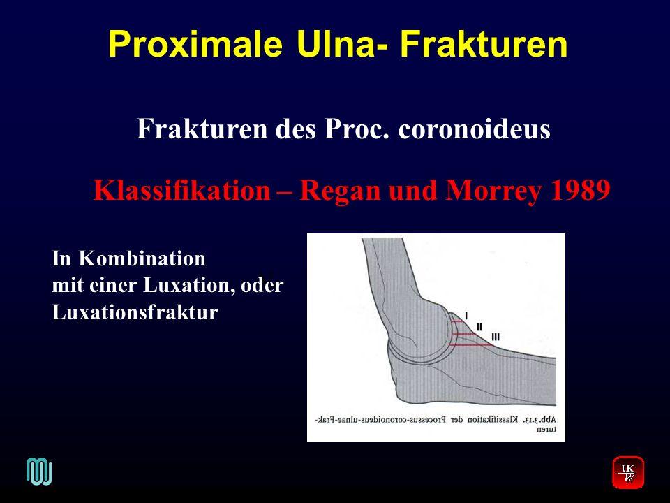 Frakturen des Proc. coronoideus Klassifikation – Regan und Morrey 1989 In Kombination mit einer Luxation, oder Luxationsfraktur Proximale Ulna- Fraktu