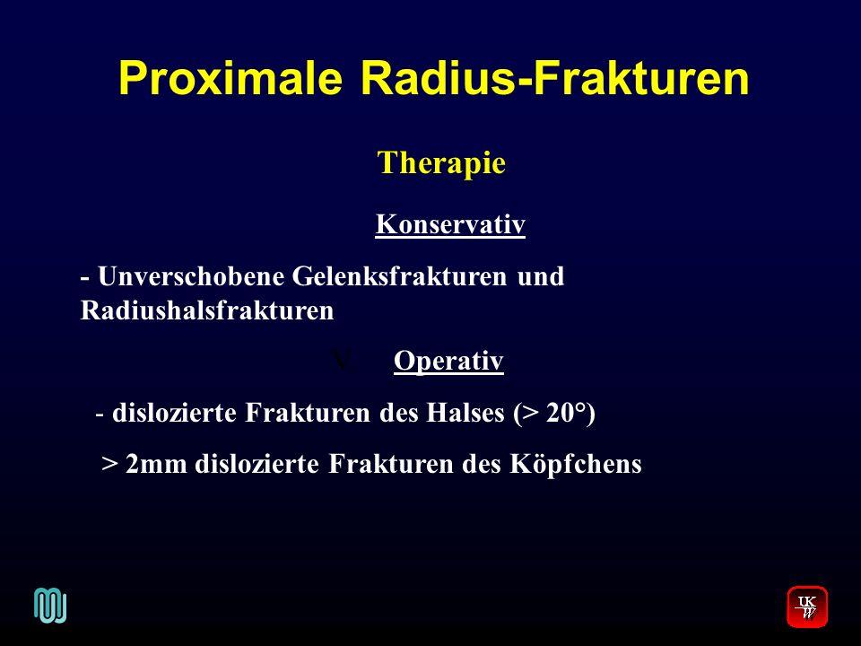 Proximale Radius-Frakturen V. Therapie Konservativ - Unverschobene Gelenksfrakturen und Radiushalsfrakturen Operativ - dislozierte Frakturen des Halse