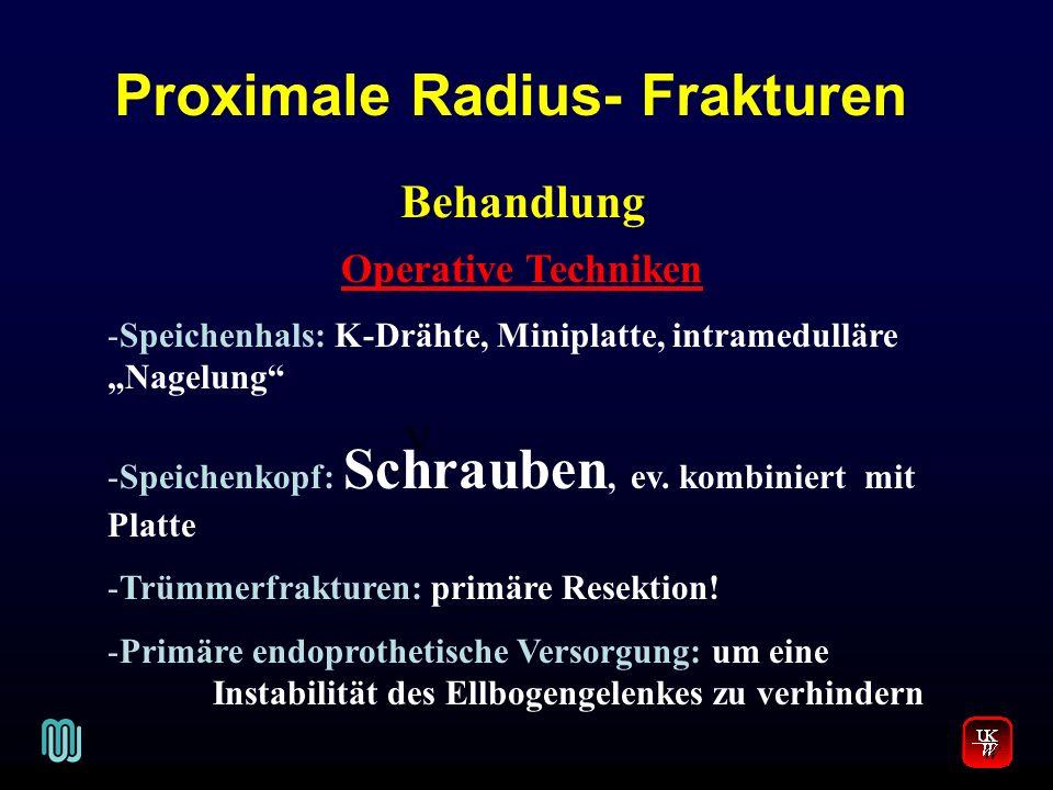 Proximale Radius- Frakturen V. Behandlung Operative Techniken -Speichenhals: K-Drähte, Miniplatte, intramedulläre Nagelung -Speichenkopf: Schrauben, e