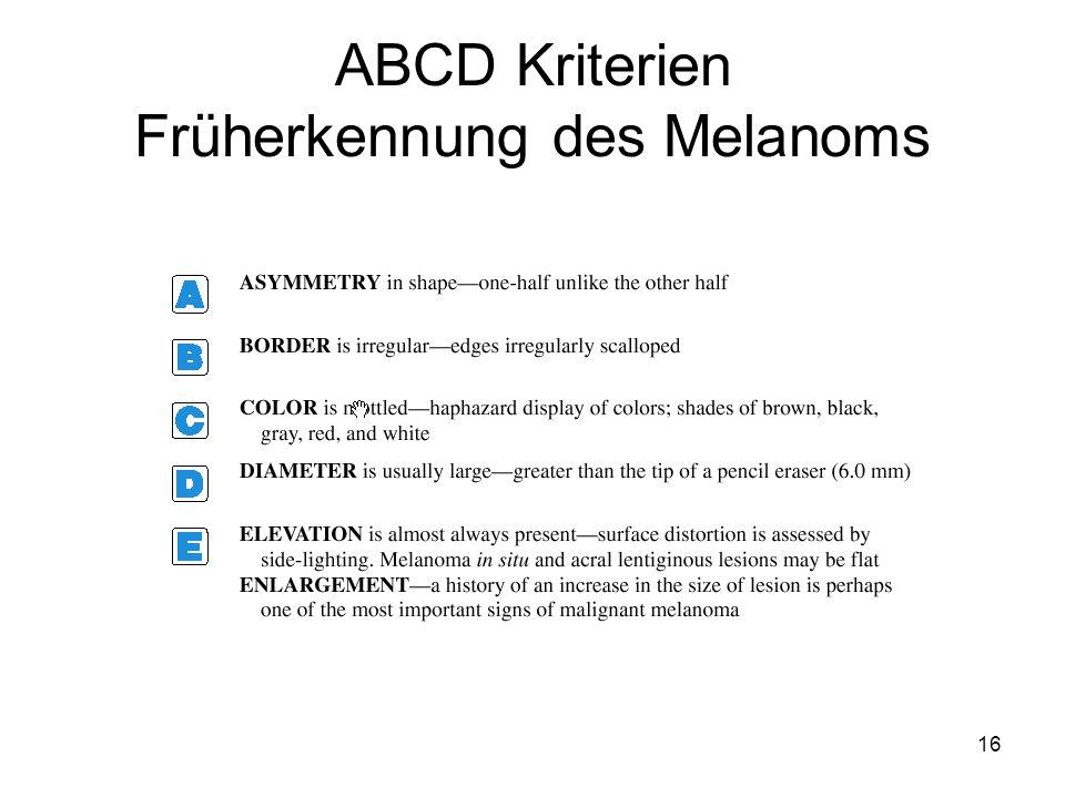 ABCD Kriterien Früherkennung des Melanoms 16