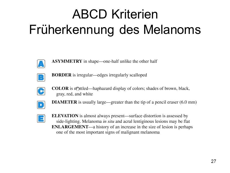 ABCD Kriterien Früherkennung des Melanoms 27