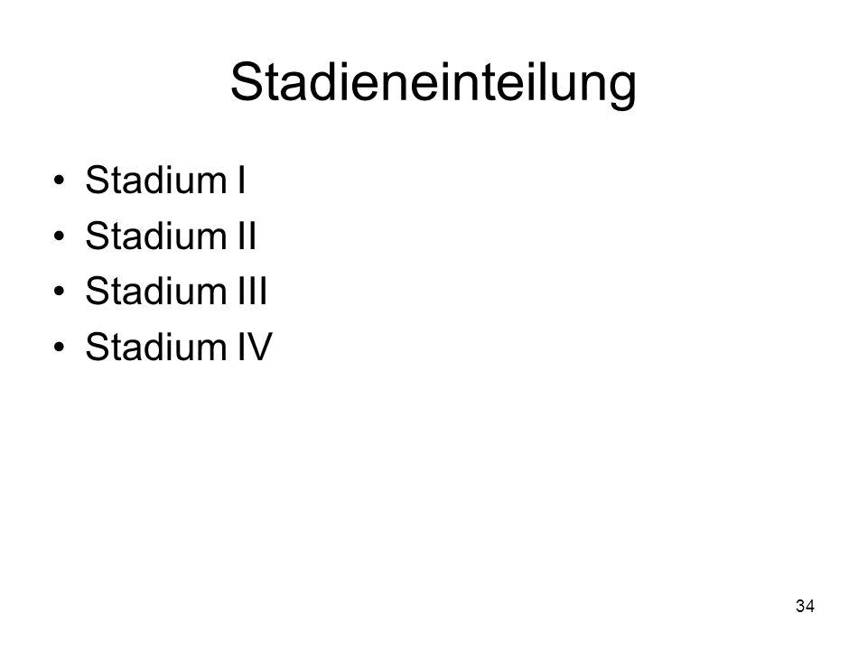 Stadieneinteilung Stadium I Stadium II Stadium III Stadium IV 34