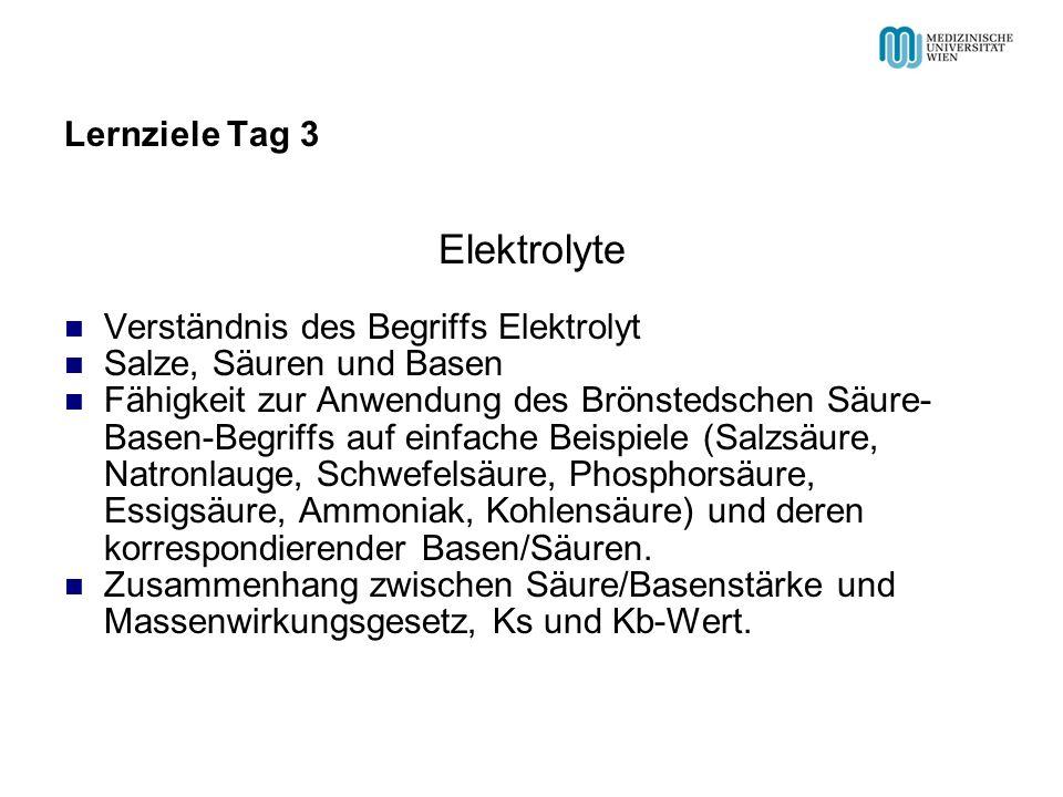 Lernziele Tag 3 Elektrolyte Verständnis des Begriffs Elektrolyt Salze, Säuren und Basen Fähigkeit zur Anwendung des Brönstedschen Säure- Basen-Begriff
