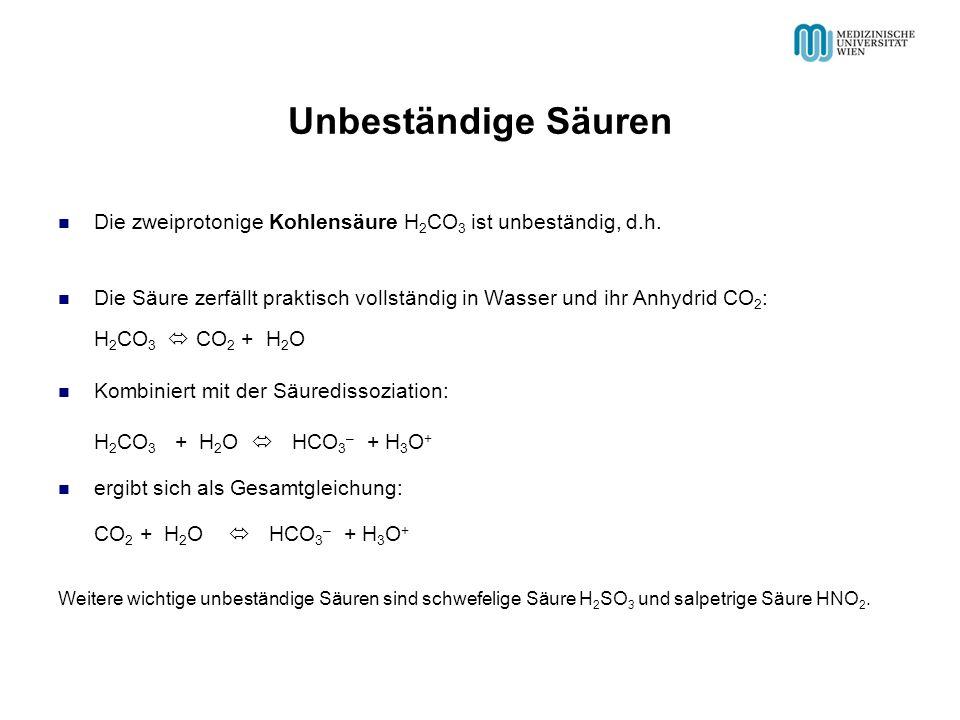 Unbeständige Säuren Die zweiprotonige Kohlensäure H 2 CO 3 ist unbeständig, d.h.