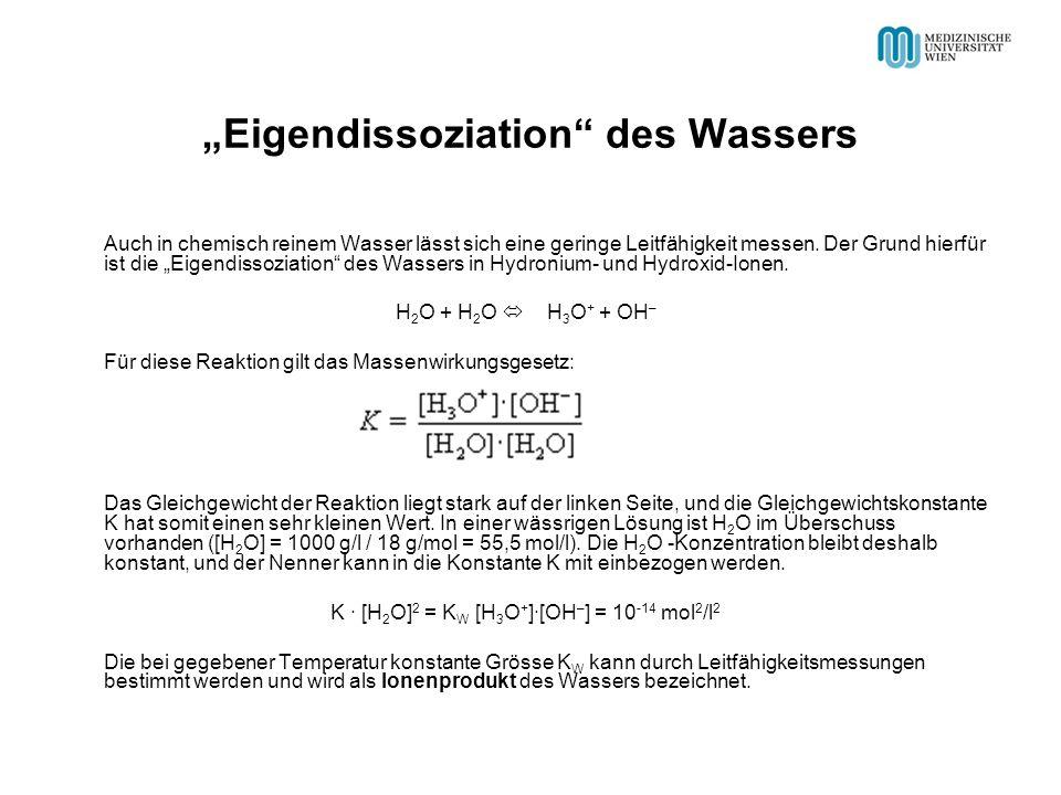 Eigendissoziation des Wassers Auch in chemisch reinem Wasser lässt sich eine geringe Leitfähigkeit messen.
