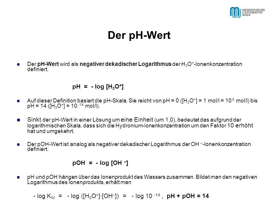 Der pH-Wert Der pH-Wert wird als negativer dekadischer Logarithmus der H 3 O + -Ionenkonzentration definiert. pH = - log [H 3 O + ] Auf dieser Definit