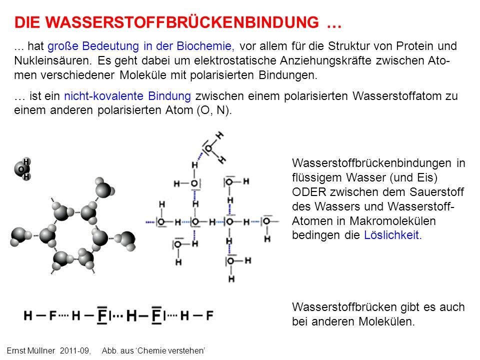 DIE WASSERSTOFFBRÜCKENBINDUNG …... hat große Bedeutung in der Biochemie, vor allem für die Struktur von Protein und Nukleinsäuren. Es geht dabei um el