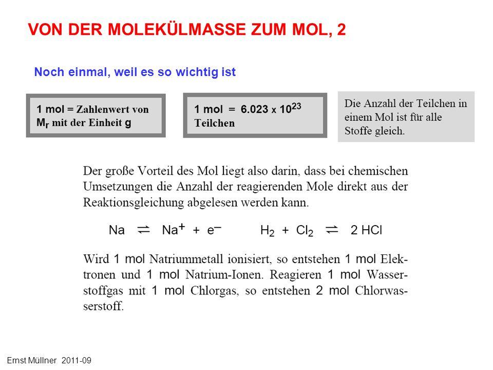 Noch einmal, weil es so wichtig ist VON DER MOLEKÜLMASSE ZUM MOL, 2 Ernst Müllner 2011-09