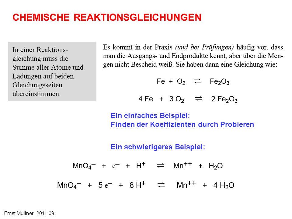 CHEMISCHE REAKTIONSGLEICHUNGEN Ein einfaches Beispiel: Finden der Koeffizienten durch Probieren Ein schwierigeres Beispiel: Ernst Müllner 2011-09