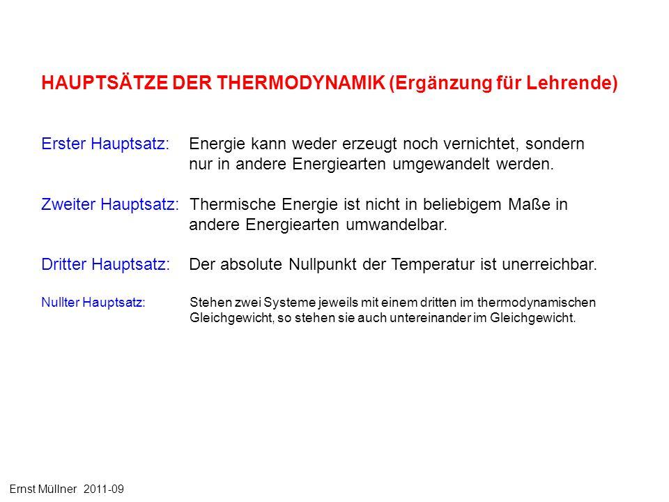 Erster Hauptsatz: Energie kann weder erzeugt noch vernichtet, sondern nur in andere Energiearten umgewandelt werden. Zweiter Hauptsatz: Thermische Ene
