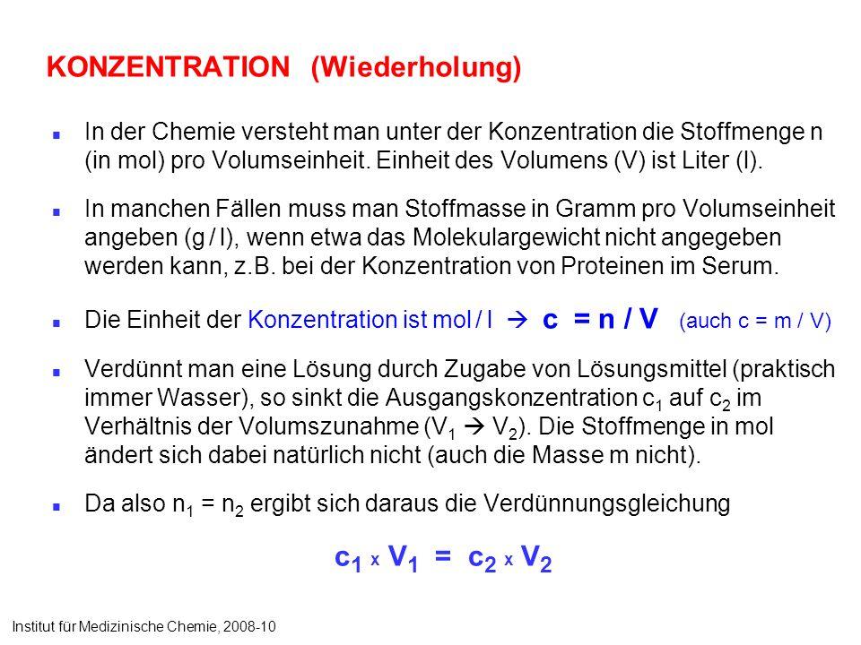 KONZENTRATION (Wiederholung) In der Chemie versteht man unter der Konzentration die Stoffmenge n (in mol) pro Volumseinheit. Einheit des Volumens (V)