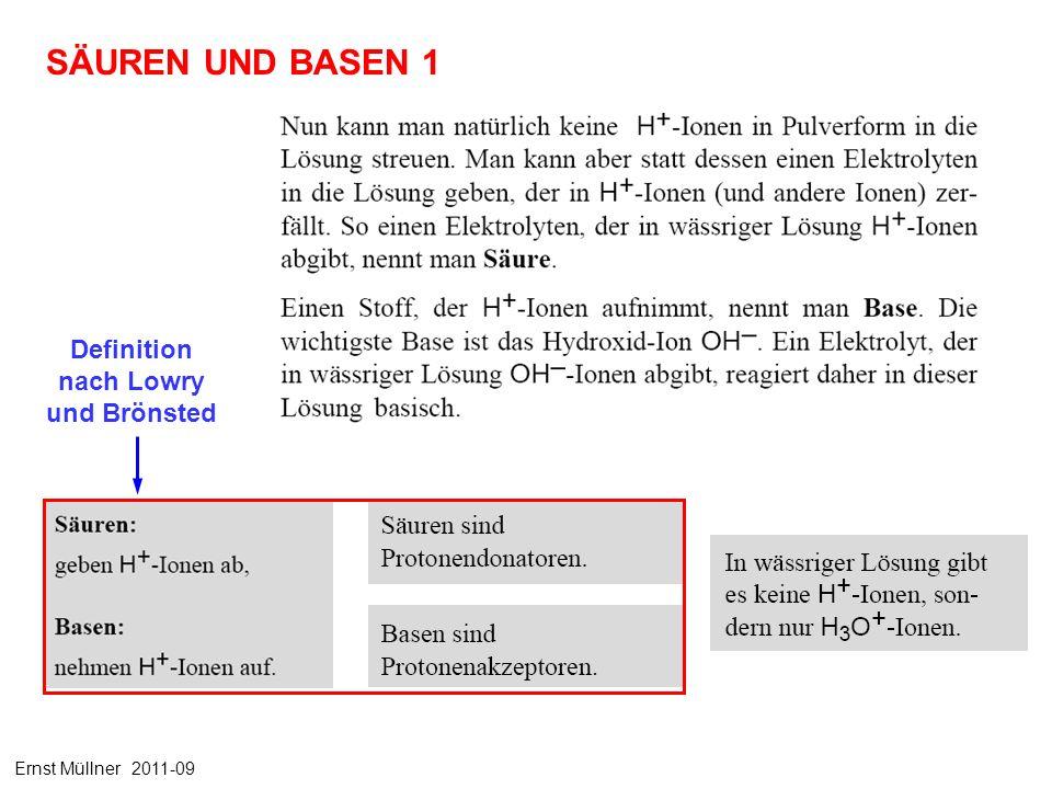 SÄUREN UND BASEN 1 Definition nach Lowry und Brönsted Ernst Müllner 2011-09