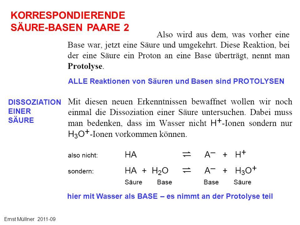 ALLE Reaktionen von Säuren und Basen sind PROTOLYSEN hier mit Wasser als BASE – es nimmt an der Protolyse teil KORRESPONDIERENDE SÄURE-BASEN PAARE 2 DISSOZIATION EINER SÄURE Ernst Müllner 2011-09