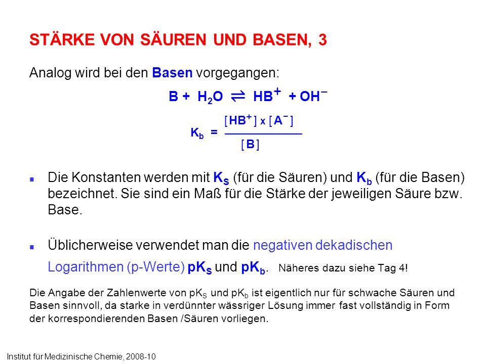 STÄRKE VON SÄUREN UND BASEN, 3 Analog wird bei den Basen vorgegangen: B + H 2 O HB + + OH – Die Konstanten werden mit K S (für die Säuren) und K b (für die Basen) bezeichnet.