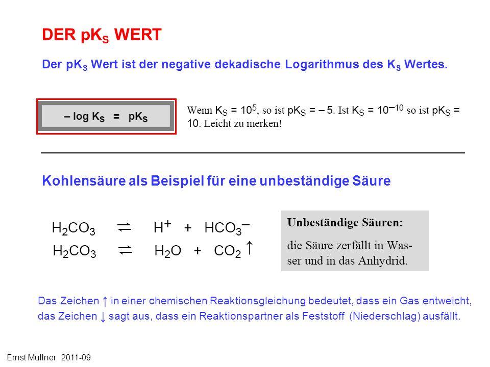 DER pK S WERT Der pK S Wert ist der negative dekadische Logarithmus des K S Wertes. Kohlensäure als Beispiel für eine unbeständige Säure Ernst Müllner