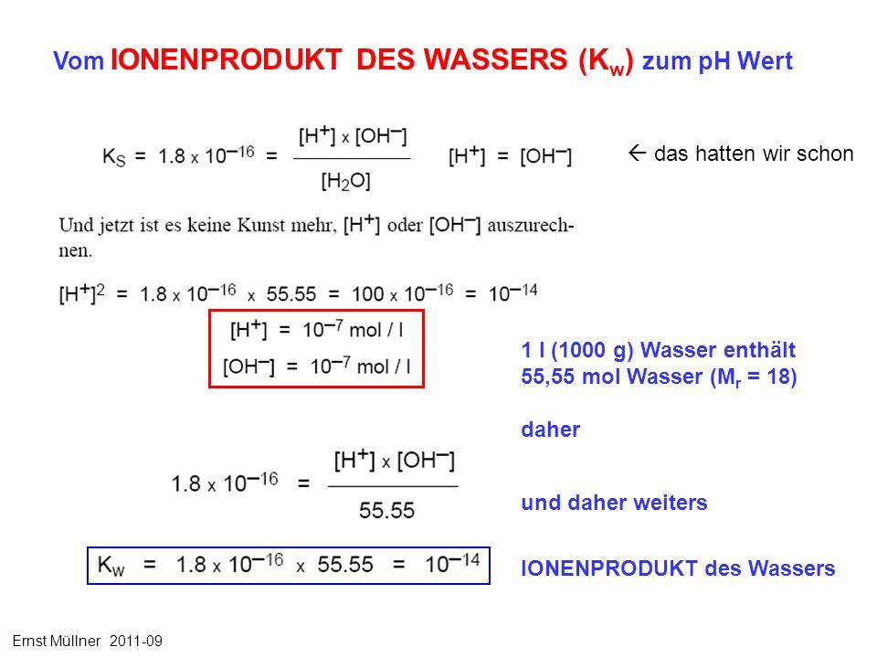 Vom IONENPRODUKT DES WASSERS (K w ) zum pH Wert 1 l (1000 g) Wasser enthält 55,55 mol Wasser (M r = 18) daher und daher weiters IONENPRODUKT des Wassers das hatten wir schon Ernst Müllner 2011-09