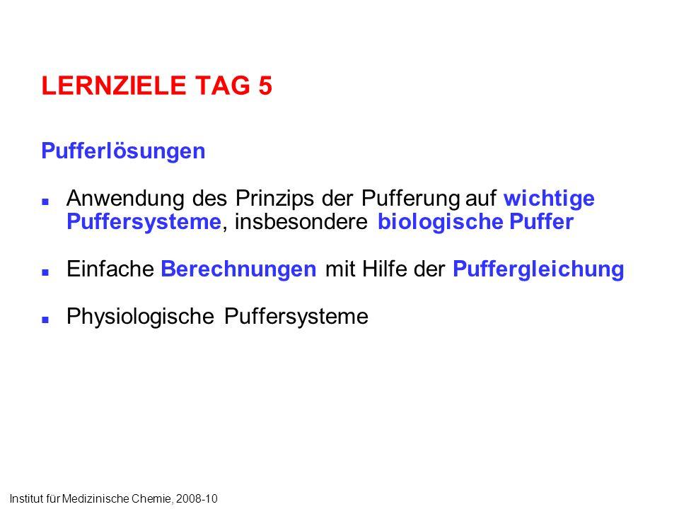 LERNZIELE TAG 5 Pufferlösungen Anwendung des Prinzips der Pufferung auf wichtige Puffersysteme, insbesondere biologische Puffer Einfache Berechnungen mit Hilfe der Puffergleichung Physiologische Puffersysteme Institut für Medizinische Chemie, 2008-10