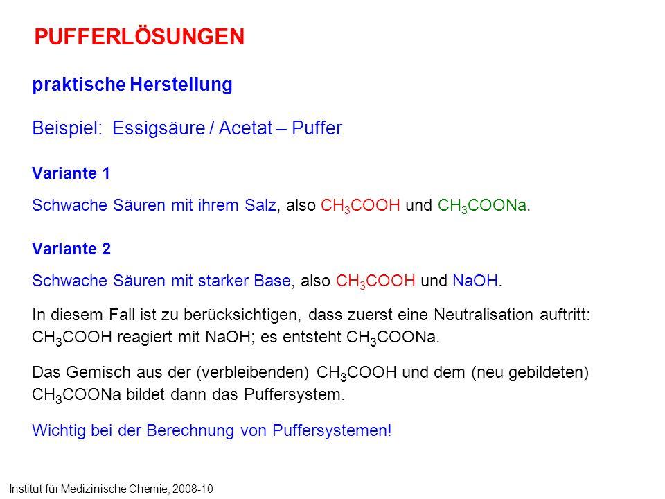 PUFFERLÖSUNGEN praktische Herstellung Beispiel: Essigsäure / Acetat – Puffer Variante 1 Schwache Säuren mit ihrem Salz, also CH 3 COOH und CH 3 COONa.