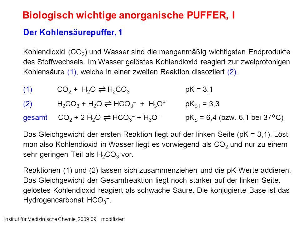 Biologisch wichtige anorganische PUFFER, I Der Kohlensäurepuffer, 1 Kohlendioxid (CO 2 ) und Wasser sind die mengenmäßig wichtigsten Endprodukte des Stoffwechsels.