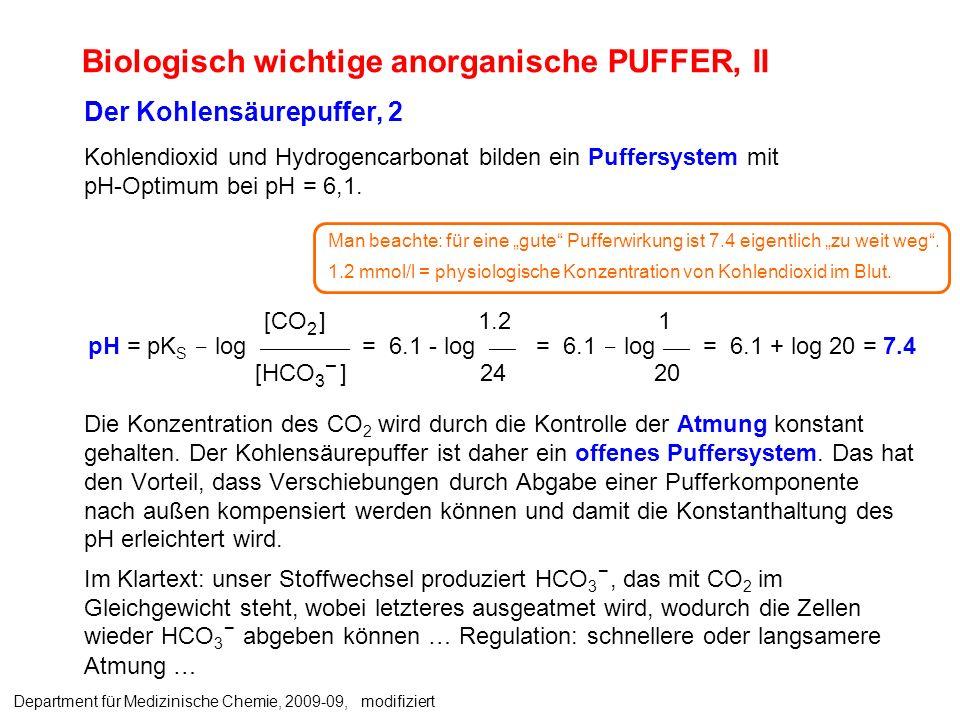 Der Kohlensäurepuffer, 2 Kohlendioxid und Hydrogencarbonat bilden ein Puffersystem mit pH-Optimum bei pH = 6,1. Die Konzentration des CO 2 wird durch
