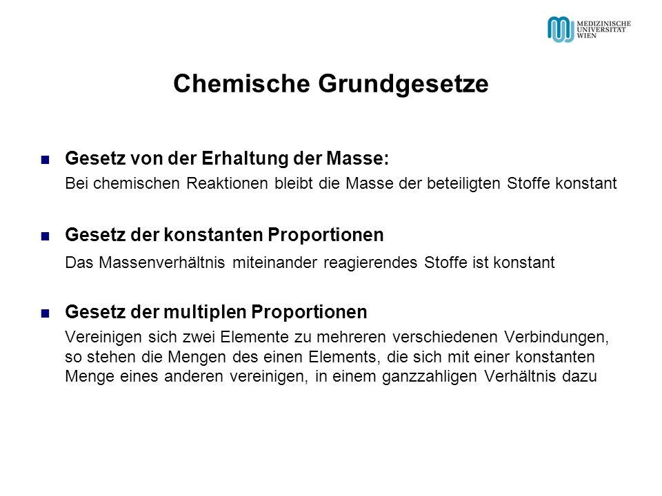 Chemische Grundgesetze Gesetz von der Erhaltung der Masse: Bei chemischen Reaktionen bleibt die Masse der beteiligten Stoffe konstant Gesetz der konst