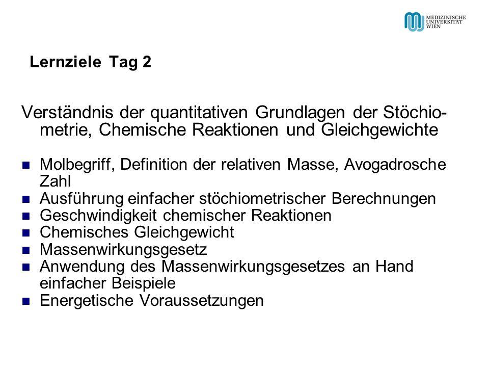 Lernziele Tag 2 Verständnis der quantitativen Grundlagen der Stöchio- metrie, Chemische Reaktionen und Gleichgewichte Molbegriff, Definition der relat