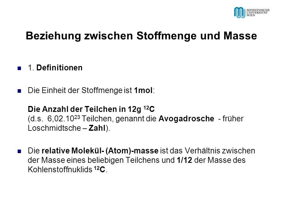 Beziehung zwischen Stoffmenge und Masse 1.