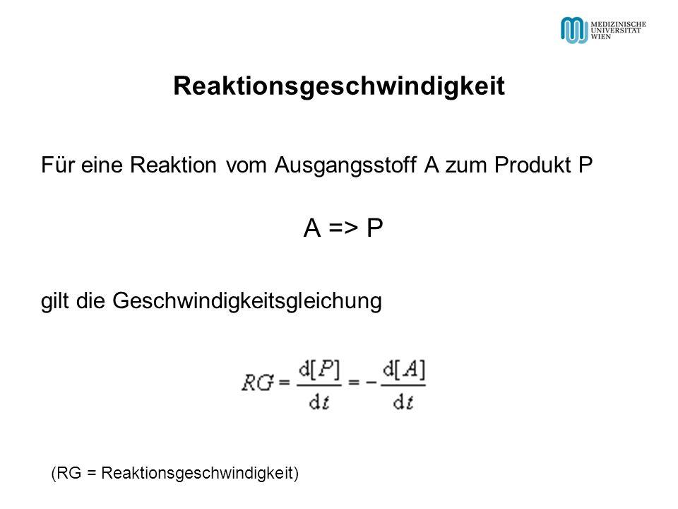 Reaktionsgeschwindigkeit Für eine Reaktion vom Ausgangsstoff A zum Produkt P A => P gilt die Geschwindigkeitsgleichung (RG = Reaktionsgeschwindigkeit)