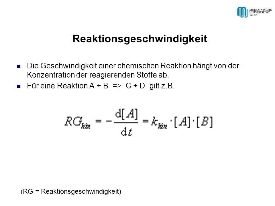 Reaktionsgeschwindigkeit Die Geschwindigkeit einer chemischen Reaktion hängt von der Konzentration der reagierenden Stoffe ab. Für eine Reaktion A + B