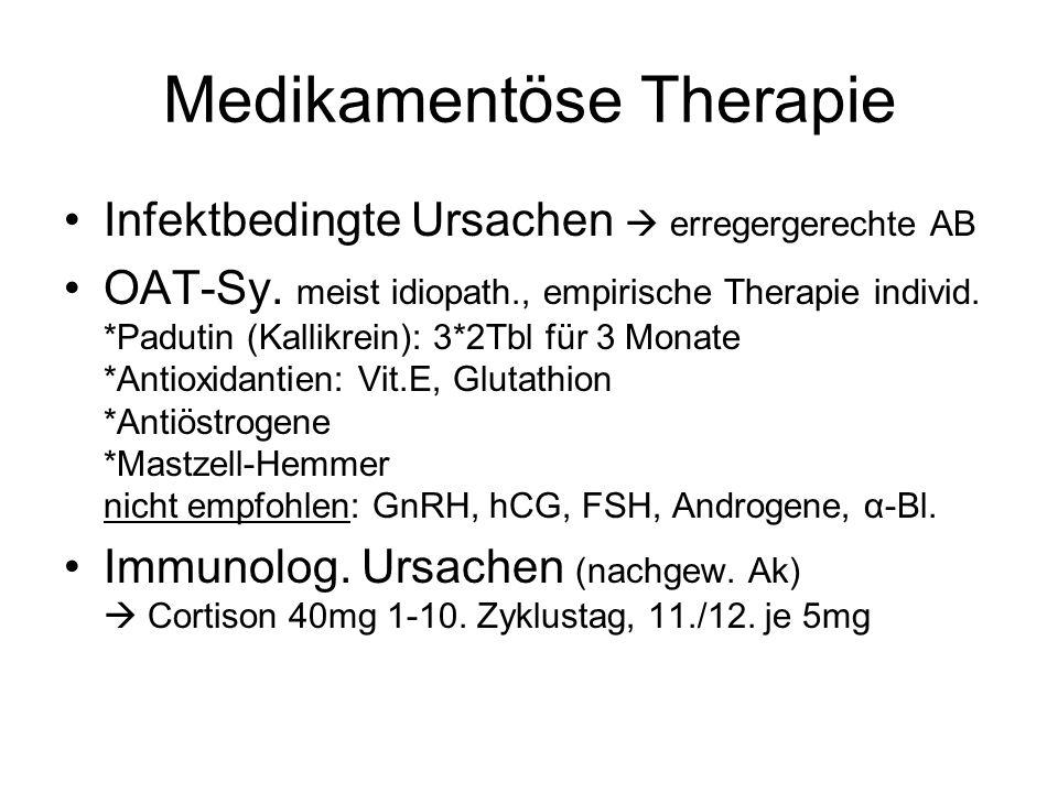 Medikamentöse Therapie Infektbedingte Ursachen erregergerechte AB OAT-Sy. meist idiopath., empirische Therapie individ. *Padutin (Kallikrein): 3*2Tbl