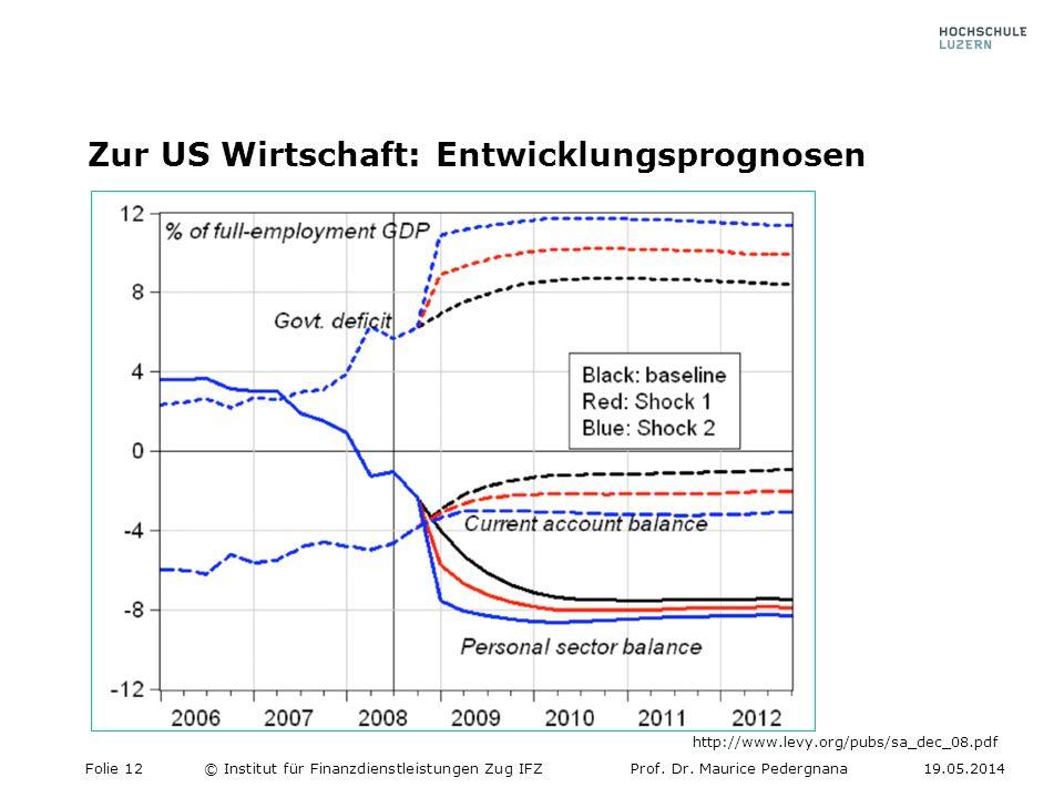 Zur US Wirtschaft: Entwicklungsprognosen Folie 12© Institut für Finanzdienstleistungen Zug IFZProf. Dr. Maurice Pedergnana19.05.2014 http://www.levy.o
