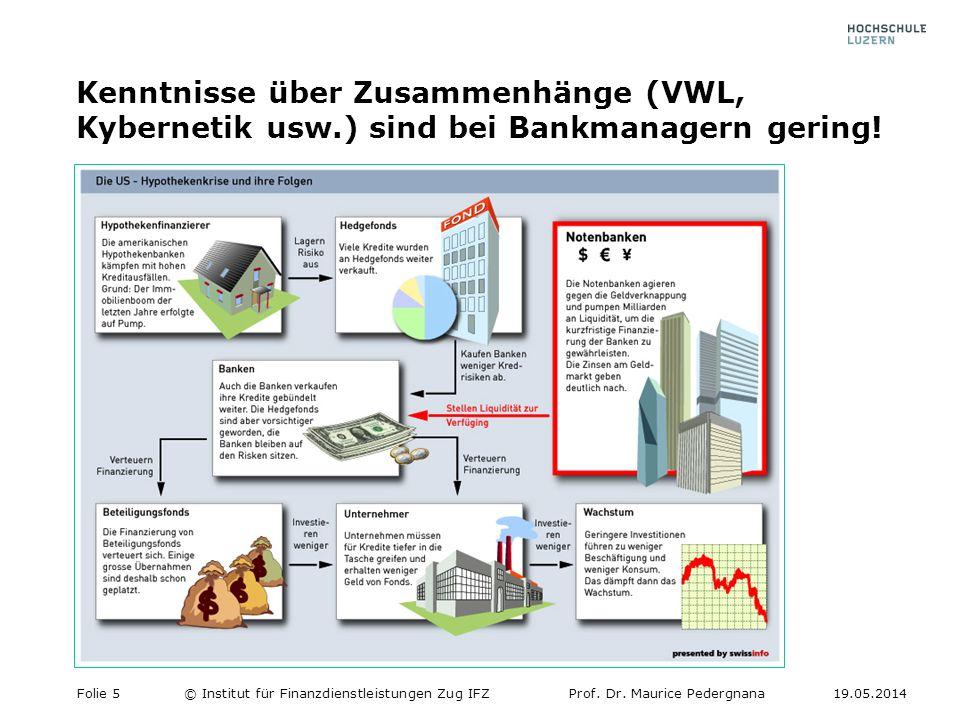Kenntnisse über Zusammenhänge (VWL, Kybernetik usw.) sind bei Bankmanagern gering.