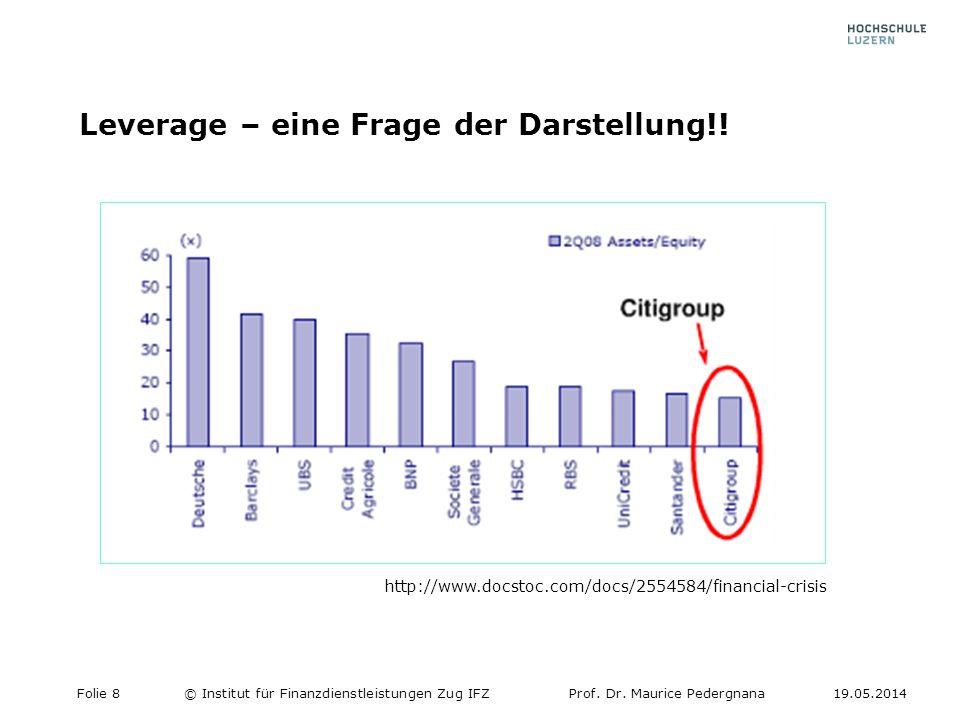 Leverage – eine Frage der Darstellung!! Folie 8© Institut für Finanzdienstleistungen Zug IFZProf. Dr. Maurice Pedergnana19.05.2014 http://www.docstoc.