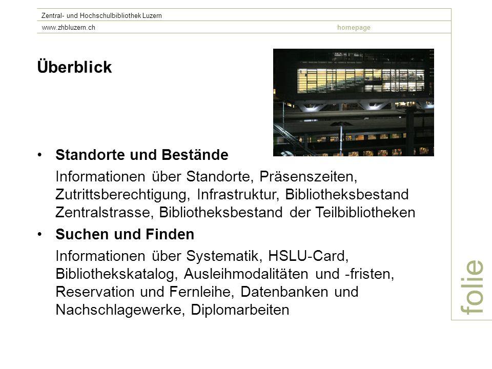 folie Zentral- und Hochschulbibliothek Luzern www.zhbluzern.chhomepage Literaturrecherchen in Datenbanken -Thema definieren -Evtl.