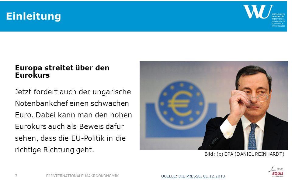 Einleitung Europa streitet über den Eurokurs Jetzt fordert auch der ungarische Notenbankchef einen schwachen Euro. Dabei kann man den hohen Eurokurs a