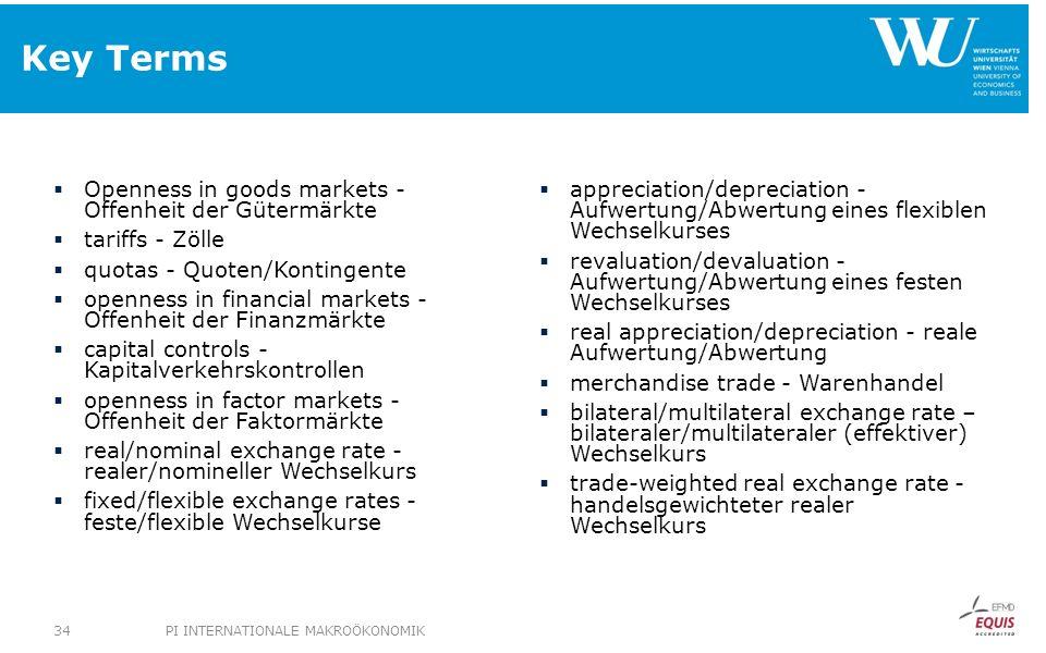 Key Terms Openness in goods markets - Offenheit der Gütermärkte tariffs - Zölle quotas - Quoten/Kontingente openness in financial markets - Offenheit
