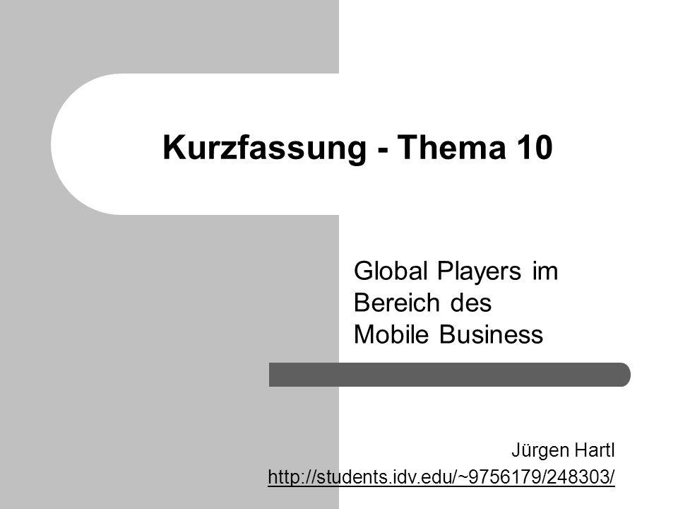 Kurzfassung - Thema 10 Global Players im Bereich des Mobile Business Jürgen Hartl http://students.idv.edu/~9756179/248303/