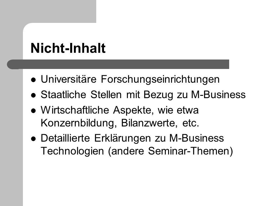 Nicht-Inhalt Universitäre Forschungseinrichtungen Staatliche Stellen mit Bezug zu M-Business Wirtschaftliche Aspekte, wie etwa Konzernbildung, Bilanzw