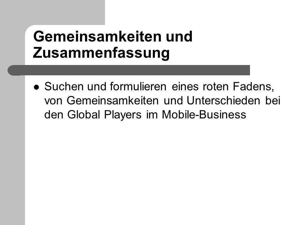 Gemeinsamkeiten und Zusammenfassung Suchen und formulieren eines roten Fadens, von Gemeinsamkeiten und Unterschieden bei den Global Players im Mobile-