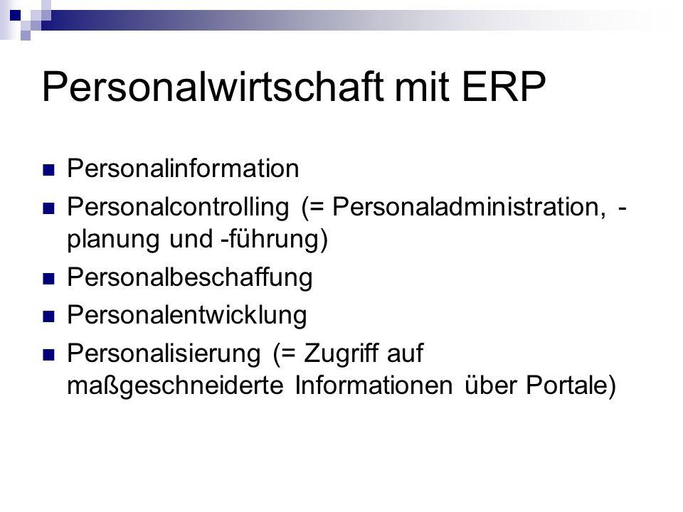 Personalwirtschaft mit ERP Personalinformation Personalcontrolling (= Personaladministration, - planung und -führung) Personalbeschaffung Personalentwicklung Personalisierung (= Zugriff auf maßgeschneiderte Informationen über Portale)