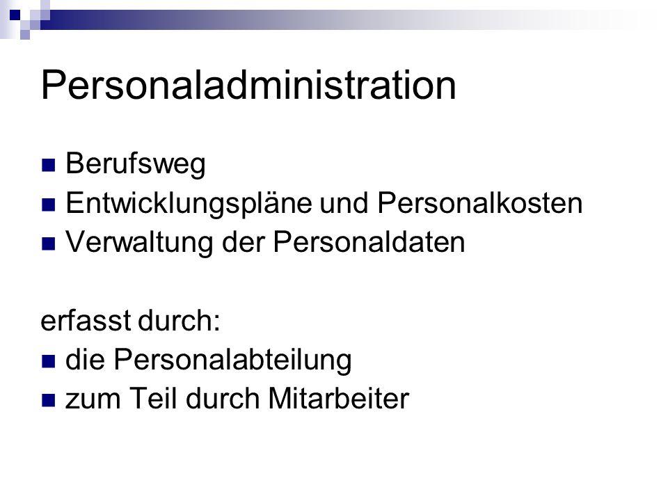 Personaladministration Berufsweg Entwicklungspläne und Personalkosten Verwaltung der Personaldaten erfasst durch: die Personalabteilung zum Teil durch Mitarbeiter
