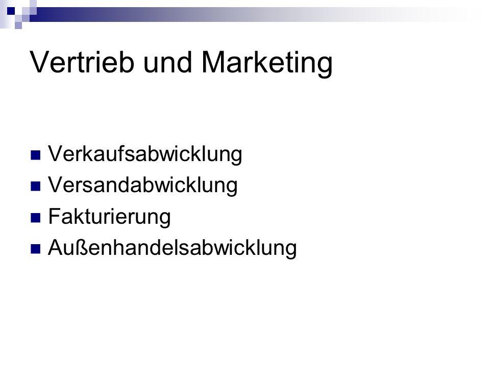 Vertrieb und Marketing Verkaufsabwicklung Versandabwicklung Fakturierung Außenhandelsabwicklung