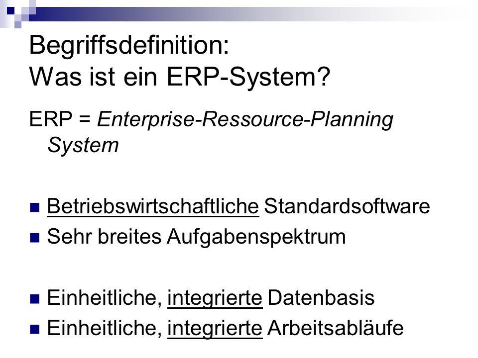 Begriffsdefinition: Was ist ein ERP-System? ERP = Enterprise-Ressource-Planning System Betriebswirtschaftliche Standardsoftware Sehr breites Aufgabens