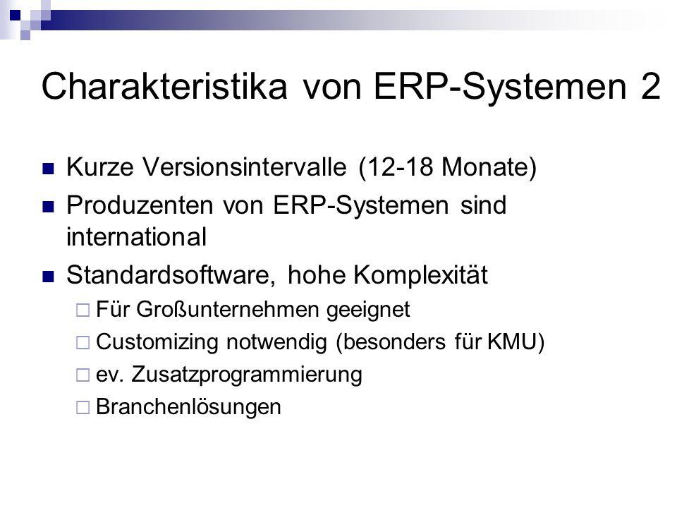 Charakteristika von ERP-Systemen 2 Kurze Versionsintervalle (12-18 Monate) Produzenten von ERP-Systemen sind international Standardsoftware, hohe Komplexität Für Großunternehmen geeignet Customizing notwendig (besonders für KMU) ev.