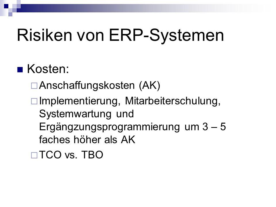 Risiken von ERP-Systemen Kosten: Anschaffungskosten (AK) Implementierung, Mitarbeiterschulung, Systemwartung und Ergängzungsprogrammierung um 3 – 5 faches höher als AK TCO vs.